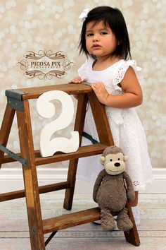 Toddler Girl Photography | Birthday Mini Session | Two Year Old Photos | Toddler Birthday Photo Session | Vintage Ladder Photo Prop