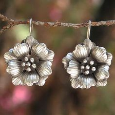 Silver flower earrings, 'Chiang Mai Rose' - Floral Silver Drop Earrings
