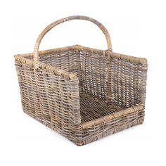 August Grove Log basket Finished in Kubu grey rattan Measurements can vary slightly due to the product being made from natural materials Size Length 41 x Width 30 x Height with Handle Size: Large Firewood Basket, Basket Willow, Log Carrier, Fireplace Accessories, Large Baskets, Country Style, Rattan, Natural Materials, Handle