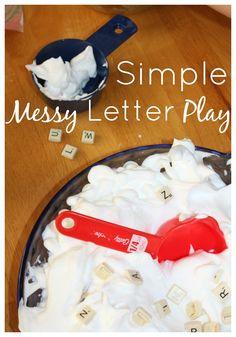 Shaving Cream Letter Recognition Sensory Play