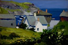 Edward Hopper,   Monhegan Houses, Maine, 1916-1919. Oil on panel, 9 x 13 in. (22.9 x 33 cm). Portland Museum of Art, Maine;   Museum Purchase with support from the Bernstein Acquistion Fund, Board Designated Acquisition Funds, Director's and Curators' Hamill Acquisition Fund, Friends of the Collection, Homburger Acquistion Fund, Osher Acquisition Fund, and an Anonymous gift in memory of the Bears  2007.1