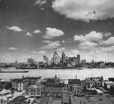 1928 Detroit waterfront skyline via the Detroit News Archivist. (Windsor, Canada in foreground)