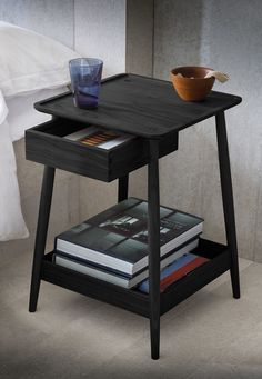 A bedside table with a floating dovetailed drawer and a lipped shelf below. May also be used as a side table. Furniture Plans, Diy Furniture, Furniture Design, Farmhouse Furniture, Night Table, Low Tables, Bedroom Styles, Storage Shelves, Decoration