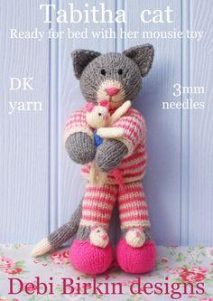 tabitha kitten cat in pyjamas  PDF email toy knitting pattern. $3.99, via Etsy.
