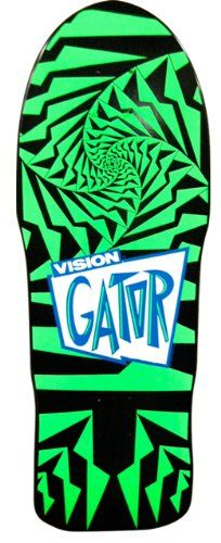 Vision Original Old School Reissue Gator 2 Skateboard Deck, Green/Black Recommended - http://ridgecrestreviews.com/vision-original-old-school-reissue-gator-2-skateboard-deck-greenblack-recommended/