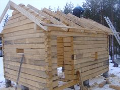 Hirsisaunat - Oma sivusto Kindergarten Photos, Diy Cabin, Off Grid Cabin, Cabin Plans, Cabins In The Woods, Building Materials, Log Homes, Tiny House, Shed