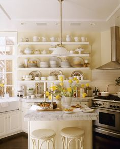 Colors- contrast of cream with White Kitchen Photos, Design, Ideas, Remodel, and Decor - Lonny