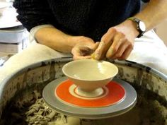 Making Throwing a small clay pottery serving bowl dish on the wheel demo