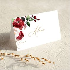 Red Floral Place Cards, Wedding Templates, Printable Guest Name Cards, Wedding Place Cards template, BIRNIE by DIYPaperPrints on Etsy
