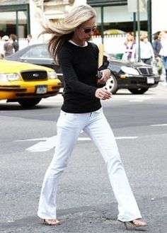 Design Chic: Fashionable Friday: White Jeans  - white jean simple black sweater :o)