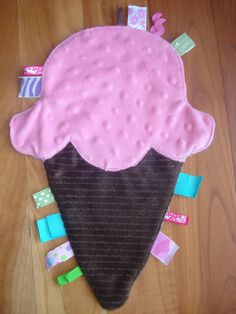 Ice cream cone baby taggies blanket, diy.
