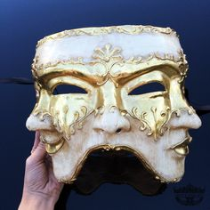 Mens Masquerade Mask Three Face Mask Mardi Gras Mask by 4everstore
