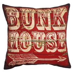 Bunk House burlap and cotton pillow.