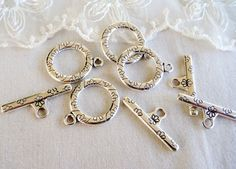 Set Antique Silver Plated Toggle Clasps Large Toggle by vess65