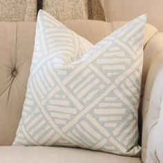 Blue Pillow Cover Geometric Pillow Cover Throw by MotifPillows