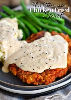 The Ultimate Chicken Fried Steak is fried to golden perfection and topped with the creamiest gravy you can imagine. It's hard to imagine a more quintessential Southern meal than Chicken Fried Steak and Gravy. Grilled Steak Recipes, Meat Recipes, Cooking Recipes, Cuban Recipes, Recipes With Cube Steak, Beef Cube Steak Recipes, Recipies, Chicken Recipes Video, Fried Chicken Recipes