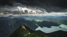 Cloudy Forest Mountains And Lake