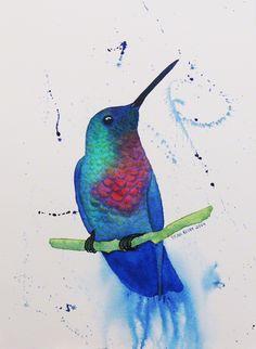 Hummingbird Watercolor by Brina Beury #art #watercolor #hummingbird