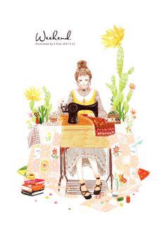 尝试彩铅的涂鸦,周末快乐-E.Pcat_E.Pcat,彩铅,少女,缝纫机,仙人掌_涂鸦王国插画