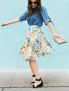Anthropologie Jardin Floral Skirt with a Chambray Top // Spring Style