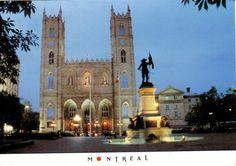 Canada Postcard, Montreal, Place d'Armes, Notre Dame Basilica at Sunset Notre Dame Basilica, Of Montreal, Royal Mail, Canada, Sunset, Places, Postcards, Stamps, Books