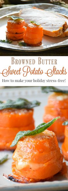 Sweet Potato slices baked in a stack with parmesan cheese and browned ...