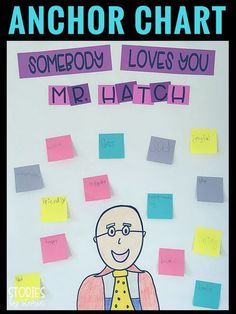 Somebody Loves You, Mr. Hatch is an amazing book about acts of kindness. You can track how Mr. Hatch changes throughout the text by color-coding the sticky notes on your anchor chart.