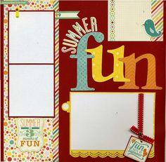 Summer Fun 12x12 Premade Scrapbook Page by SusansScrapbookShack