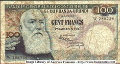1956 Belgian Congo 100 Francs Banknote