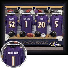 9a32b737ea4 32 Best Personalized NFL Football Locker Room Print / Picture images ...