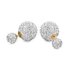 Bling Jewelry Clear Crystal Double Stud Statement Earrings Gold Plated... (40.370 COP) ❤ liked on Polyvore featuring jewelry, earrings, clear, pave earrings, gold plated earrings, ball stud earrings, gold plated stud earrings and stud earring set