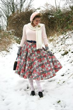 Charlotte (Tuppence Ha'penny) sporting a terrifically cute pink winter outfit. #vintage #fashion #bloggers