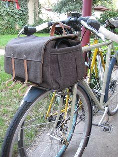 Handmade wood and leather bike bag