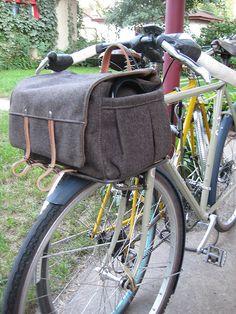 Handmade wood and leather bike bag