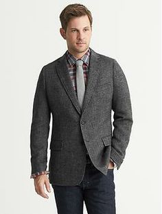 I bought this for my hubby for Christmas (thankfully he's not a pinner). Tailored-Fit Herringbone Wool Blazer.   Banana Republic: $250. (with 40% off coupon, it ended up being $159).