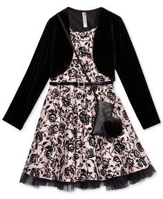 Beautees Velvet Jacket & Dress Set With Coordinating Purse, Big Girls - Pink 16 Embellished Belt, Plus 8, Velvet Jacket, Girl Online, Holiday Dresses, Jacket Dress, Fit Flare Dress, Pink Girl, Dress Set