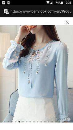 Blouses for women – Lady Dress Designs Dress Neck Designs, Blouse Designs, Chiffon Shirt, Chiffon Tops, Abaya Fashion, Fashion Dresses, How To Wear Blazers, Moda Chic, Blouse Styles