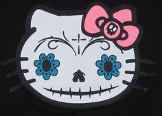 HELLO KITTY T-shirt Sugar Skull Zombie Day Of The Dead Tee Womens Juniors Small   eBay