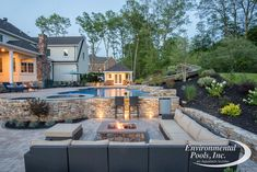 Fire Pit / Swim-up Bar Area - Environmental Pools Swimming Pool Photos, Swimming Pools Backyard, Pool Landscaping, Fire Pit Near Pool, Fire Pit Area, Fire Pits, Garden Fire Pit, Fire Pit Backyard, Backyard Patio