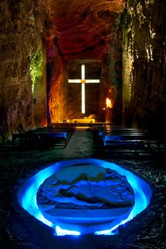 Altar & Creation of Man in the Central Nave of The Salt Cathedral ~ Zipaquirá, Columbia