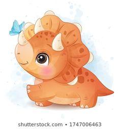 Baby Dinosaurs, Baby Animals, Cute Animals, Baby Illustration, Butterfly Illustration, Cartoon Dinosaur, Cute Dinosaur, Baby Animal Drawings, Cute Drawings