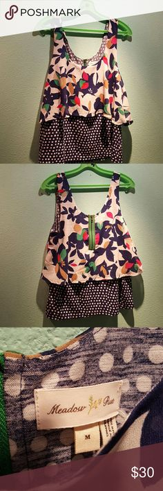 Anthropologie Meadow Rue blouse Anthropologie Meadow Rue blouse, really cute layered blouse polka dot print under with stylized floral print on top. A flowy, predominately navy blue and cream with a cute, green, retro-look zipper in the back. Like new condition. Anthropologie Tops Blouses