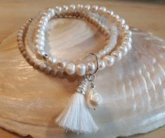 PEARL - Edelsteinarmband - Sterling Silber - weiss Jade, Pearl Necklace, Pearls, Jewelry, Fashion, Stretching, Wristlets, String Of Pearls, Moda