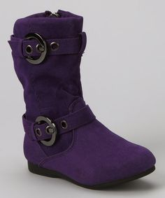 Sometimes the kids dig hardware like this on their boots.  Purple Loretta Zip-Up Boot by PINKY FOOTWEAR on #zulily