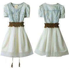 Women Vintage Jeans Denim Party Dress Retro Girl Blue Top White Skirt With Belt Free $15.99