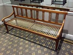 A South African 'riempiesbank' - said to be the most iconic Cape furniture - the name derives from the thin leather strips (riemies) plaited or braided to form the seat. Baby Furniture Sets, Furniture Direct, Cheap Furniture, Pallet Furniture, Discount Furniture, Bedroom Furniture, Home Furniture, Outside Furniture, Outdoor Furniture