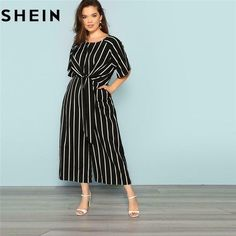 2bc6bed961e SHEIN Black And White Striped Raglan Sleeve Plus Size Belted Women Wide Leg  Jump  fashion