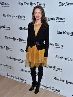 Pin for Later: Over 60 of Natalie Portman's Best Red Carpet Looks Ever Natalie Portman in a Yellow Chiffon Dress at a 2009 New York Times Event A sophisticated play on a pretty little dress in 2009.