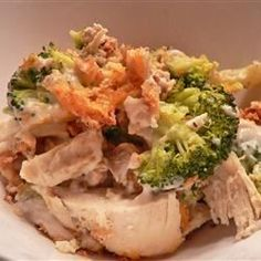 Assembly time is minimal with this simple casserole combining chicken, cream of mushroom soup, cheddar cheese and broccoli. Dry stuffing mix is sprinkled over the top for a crunchy, flavorful topping.