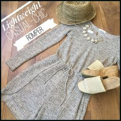 LIGHTWEIGHT CHIC ROMPER Beautiful Lightweight chic romper. great for spring/early summer. Or for our  Northern friends cool evenings. It has a neutral tweed mix of color. This Romper is very lightweight material. It's a great wardrobe piece to dress up or be casual. Price is firm Tac Other